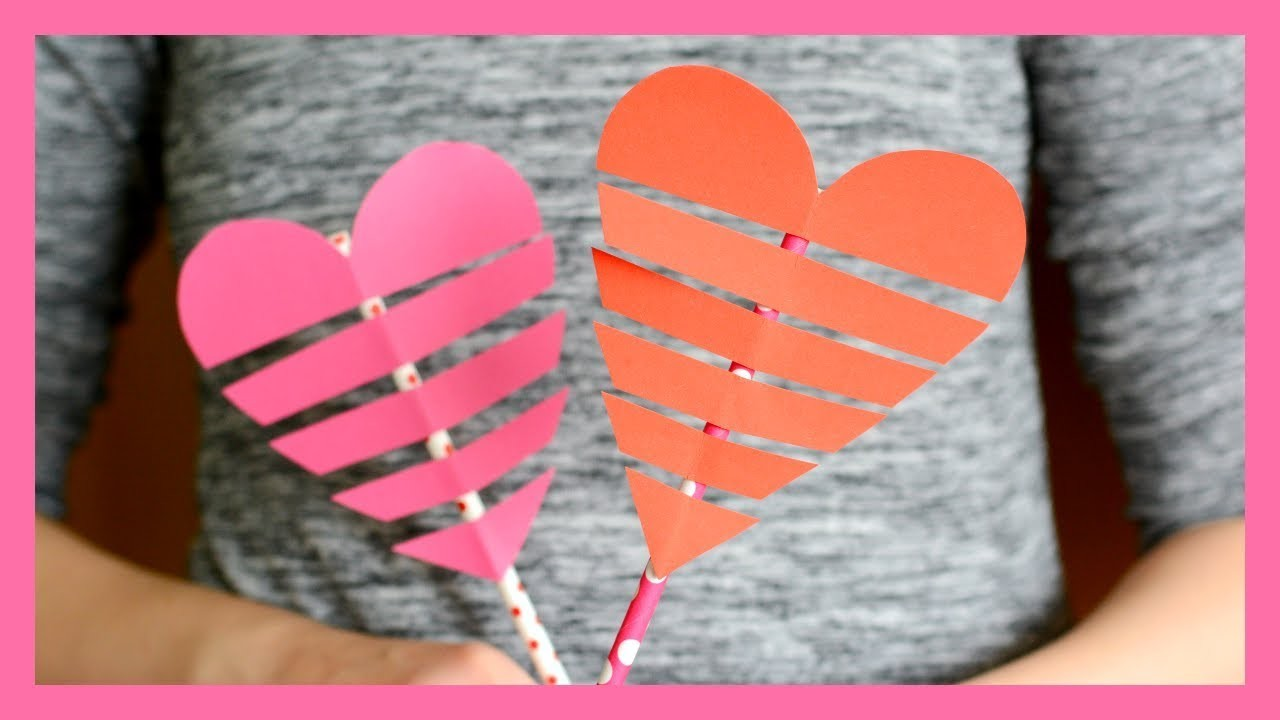 Heart On a Paper Straw - Valentine's day craft for kids