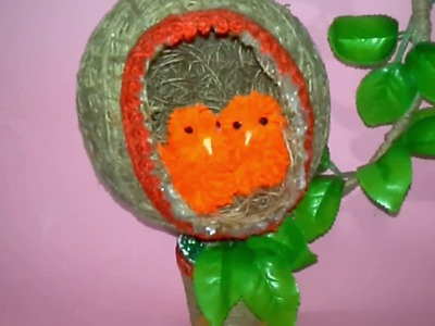 How to Make Birds Nest |DIY Birds Nest Home Décor Craft|newspaper craft|