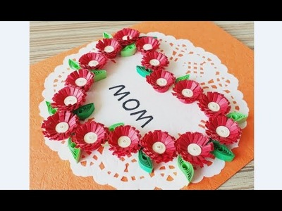 Kids Craft. DIY Quilling Paper for kids learning 06. Quilling Flower Craft. Flower Card