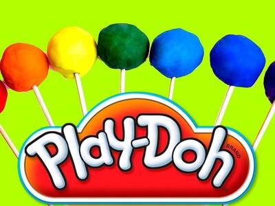 Rainbow Play Doh Lollipops - How to Make Playdough Rainbow Lollipops