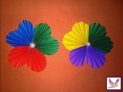 Three Color Paper Flowers | Diy Art And Craft With Paper Flower For Decoration