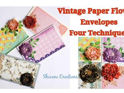 Vintage Paper Flower Envelopes. DIY Paper Flowers. Joy Craft Flowers. Shagun Envelopes