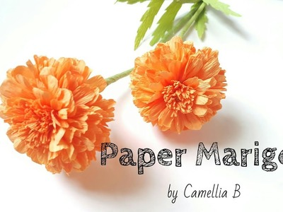 D.I.Y: How to make paper Marigold from crepe paper- Easy and Fast
