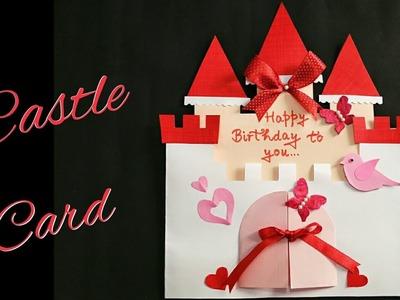 DIY Castle Card. Fairy Castle Card for Kids.Fairy Castle Birthday Card for Kids.Handmade Castle Card