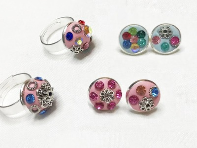 DIY Cute Crystal Silver Rings and Earrings with Crystal Clay, How to Make Jewelries with Clay