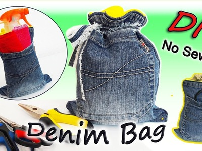 DIY Easy Denim Bag Out Of Old Jeans - How To Make Bag Recycled Jeans No Sew - Simple Tutorial