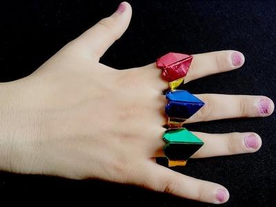 DIY, How To Make Shiny Paper Rings | کاردستی، ساخت انگشتر های جلا دار کاغذی