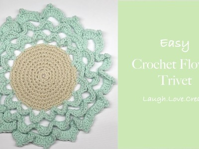 Easy || Crochet Flower Trivet || LaughLoveCreate