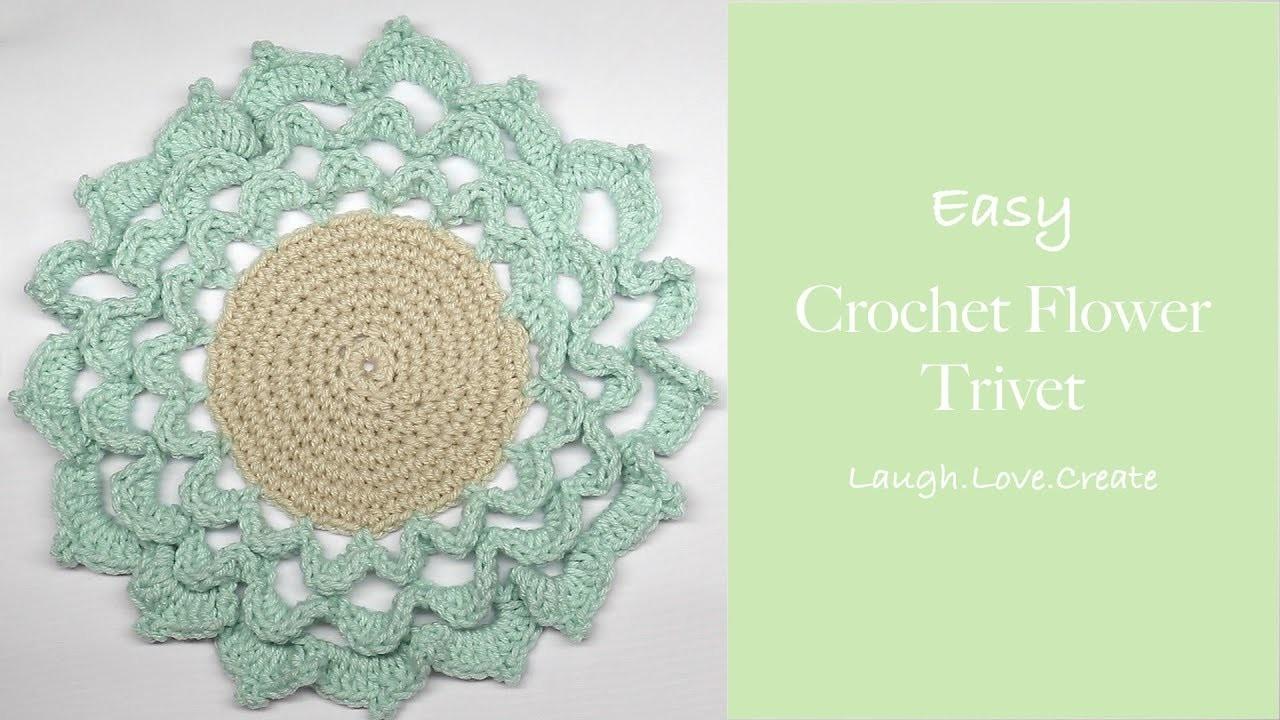 Easy Crochet Flower Trivet Laughlovecreate
