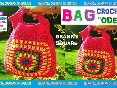 """Granny Square Bag """"Odet""""  Crochet Easy  Pattern by Maricita Colours in English"""