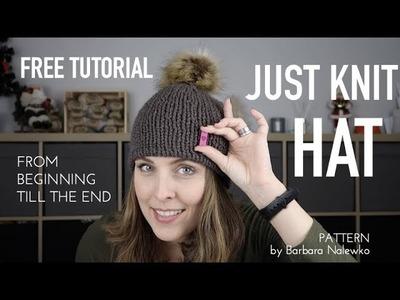 How I .  FREE TUTORIAL ▸▸▸ JUST KNIT HAT ♥︎ Chunky Bulky with HiyaHiya Sharp♥︎ knitting ILove