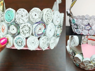 How to make a basket using newspaper  How to make newspaper basket