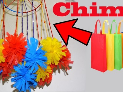 How To Make A Colorful Wind Chimes || DIY Shopping Tote Bags Recycling Home Decoration Ideas