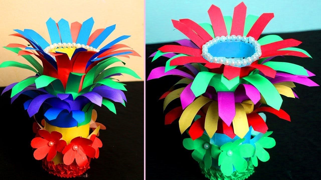 How To Make A Flower Vase Out Of Paper Paper Flower Vase Crafts