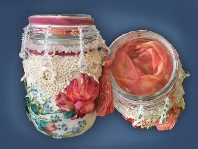 How to make a silk ribbon rose embroidered 'altered'  jar