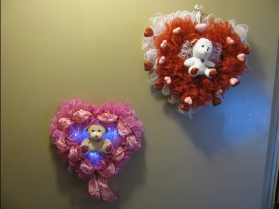 How To Make Carmen's Valentine's Day Teddy Bear Pair of Deco Mesh Heart Wreaths