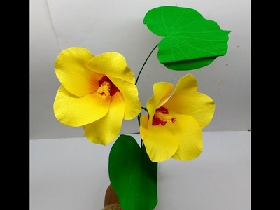 How to make Crepe Paper Flowers Sea Hibiscus. Hibiscus tiliaceus (flower # 237)