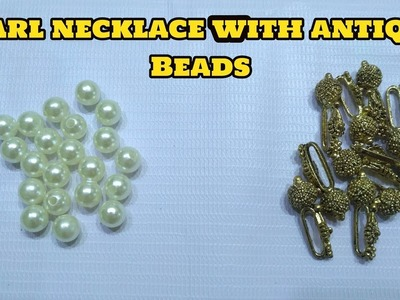How to make Designer Pearl Necklace at home with antique Beads I Thread Jewellery I