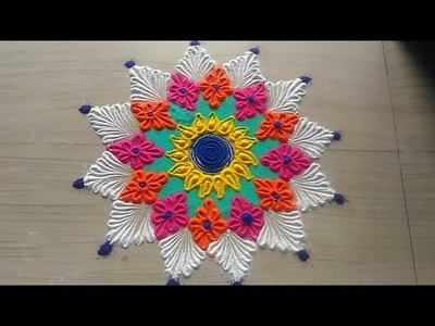 How to make easy and simple.unique border rangoli designs by Jyoti Rathod,festival rangoli