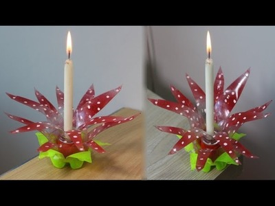 How to make flower candle light stand with waste plastic bottles - Best Use Of Waste