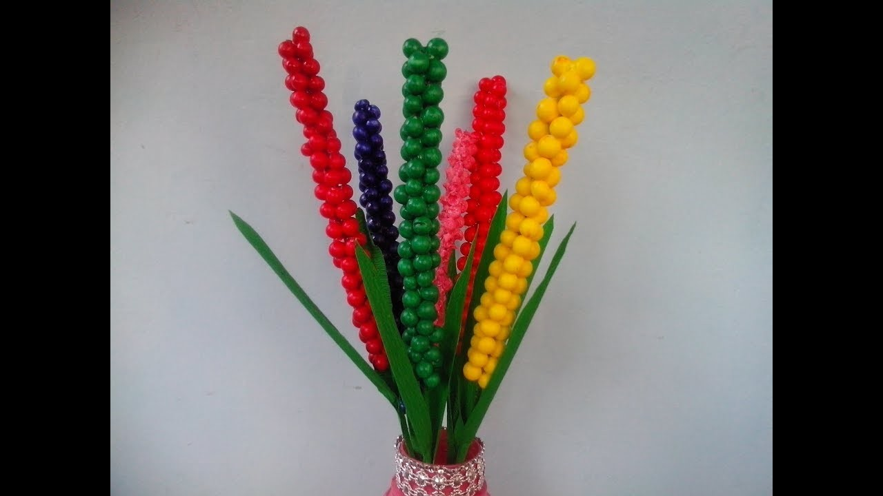 How to make  flower from foam beads.Levander flower from thermocol ball.