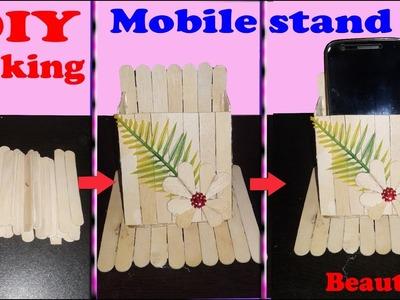 How to make popsicle mobile holder | Homemade mobile stand | |mobile holder  with popsicle stick|