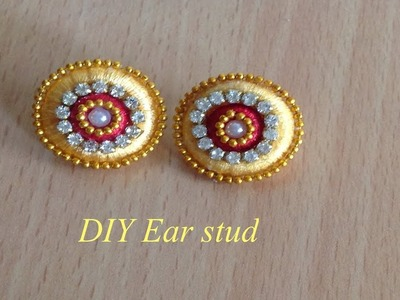 How to make silk thread ear stud II DIY earrings