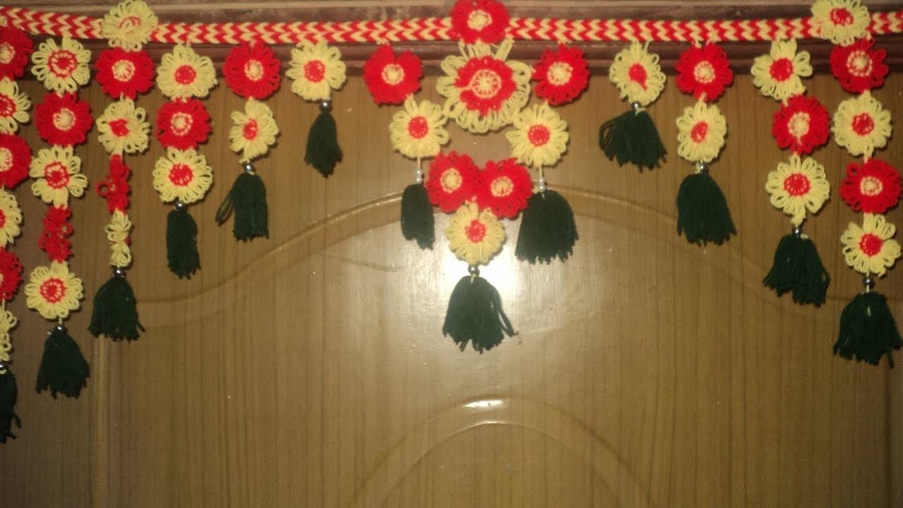 How to Make Toran for Door Hangings at Home | DIY Woolen Flowers Toran