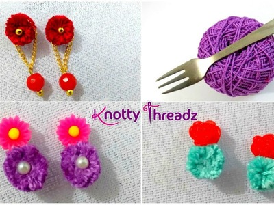 How to Make Trendy Earrings Using Thread | DIY Fancy Studs less than 2 Mins | www.knottythreadz.com