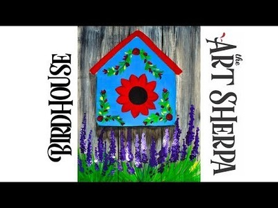How to paint Acrylic Bird house with Lavender Easy