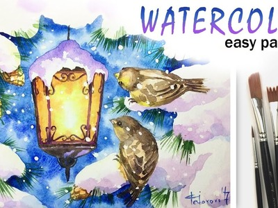 How to paint CHRISTMAS Greeting Card! LAMP & BIRDS with Watercolor! Tutorial for Beginners! EASY 如何
