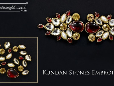 Learn how to do Kundan Stones Embroidery Work with the help of Aari Needle