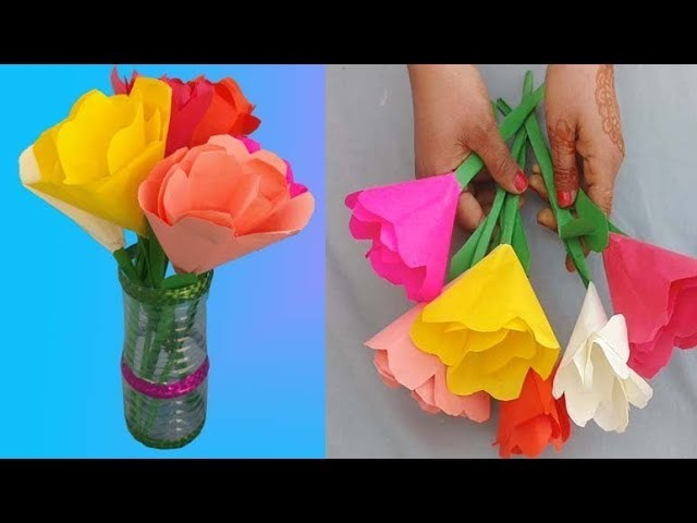 Make Paper Flowers And Vase Out Of Plastic Bottle Paper Flower