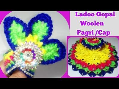 Make Unique Crochet crocodile stitch Pagri. Cap for Ladoo Gopal | Woolen winter cap for Bal Gopal