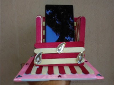Phone stand with ice cream sticks | how to make phone stand | mobile stand holder