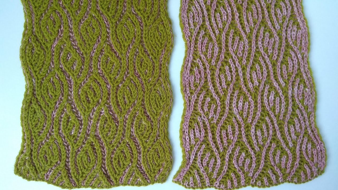 Spring Scarf Two Color Brioche Stitch Knitting Pattern Free Chart