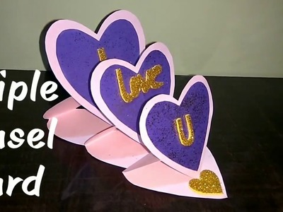 Triple Heart Easel Card Tutorial????, Easy DIY, card making ideas, with subtitles in english.
