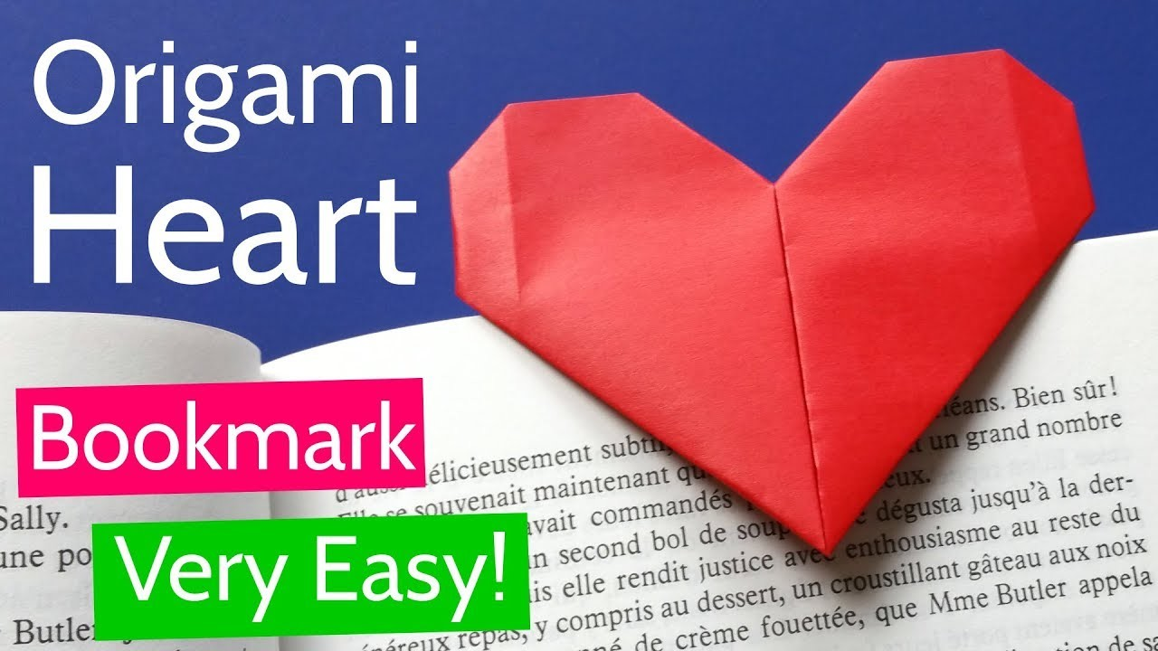 Very Easy Origami Heart Bookmark Tutorial Diy Paper Heart For