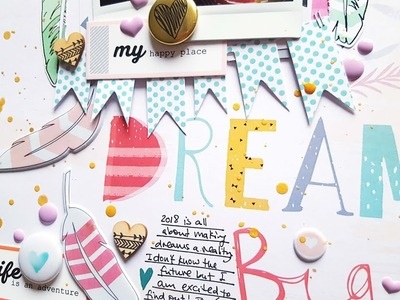 ***2018 STASH CHALLENGE*** Scrapbooking Process- PinkFresh Studio Happy Things Collection