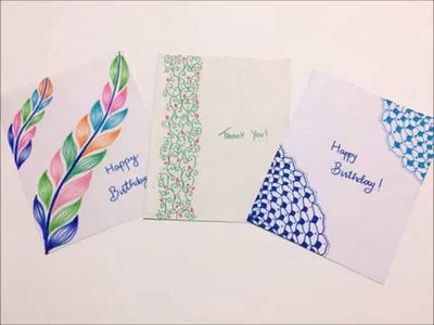 3 simple and beautiful greeting cards using only paper and pen