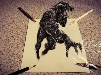 """Black Panther 3d Drawing"""