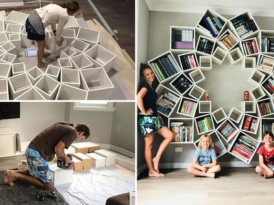 Crafty Couple Spends 16 Hours Creating DIY Bookshelf They Found Online, And It Turns Out Stunning