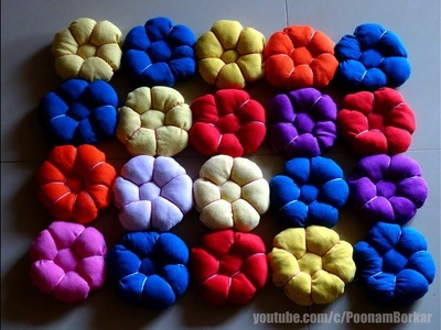 DIY - Beautiful door mat from old clothes   Floor mat with puff flowers   Recycling old t-shirts