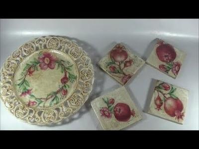 DIY coasters and dish decoration.Διακοσμώ σουβέρ και πιάτο