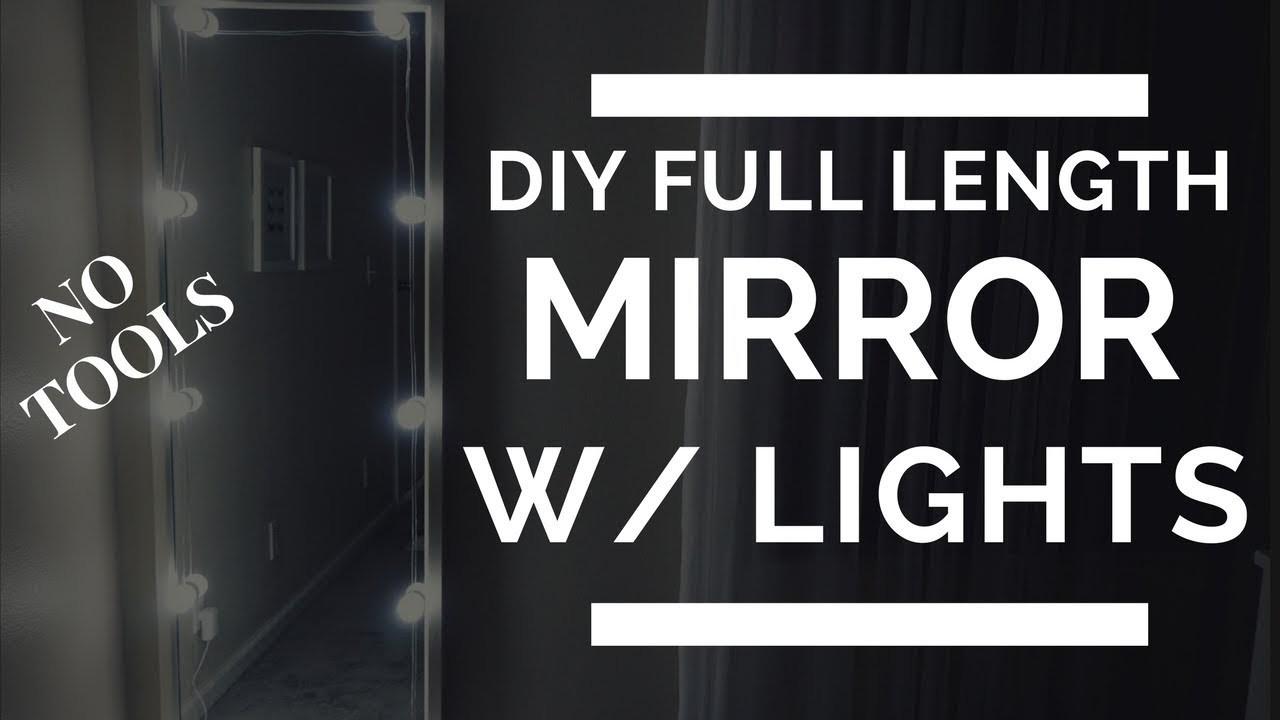 DIY Full Length Mirror with lights. selfie mirror