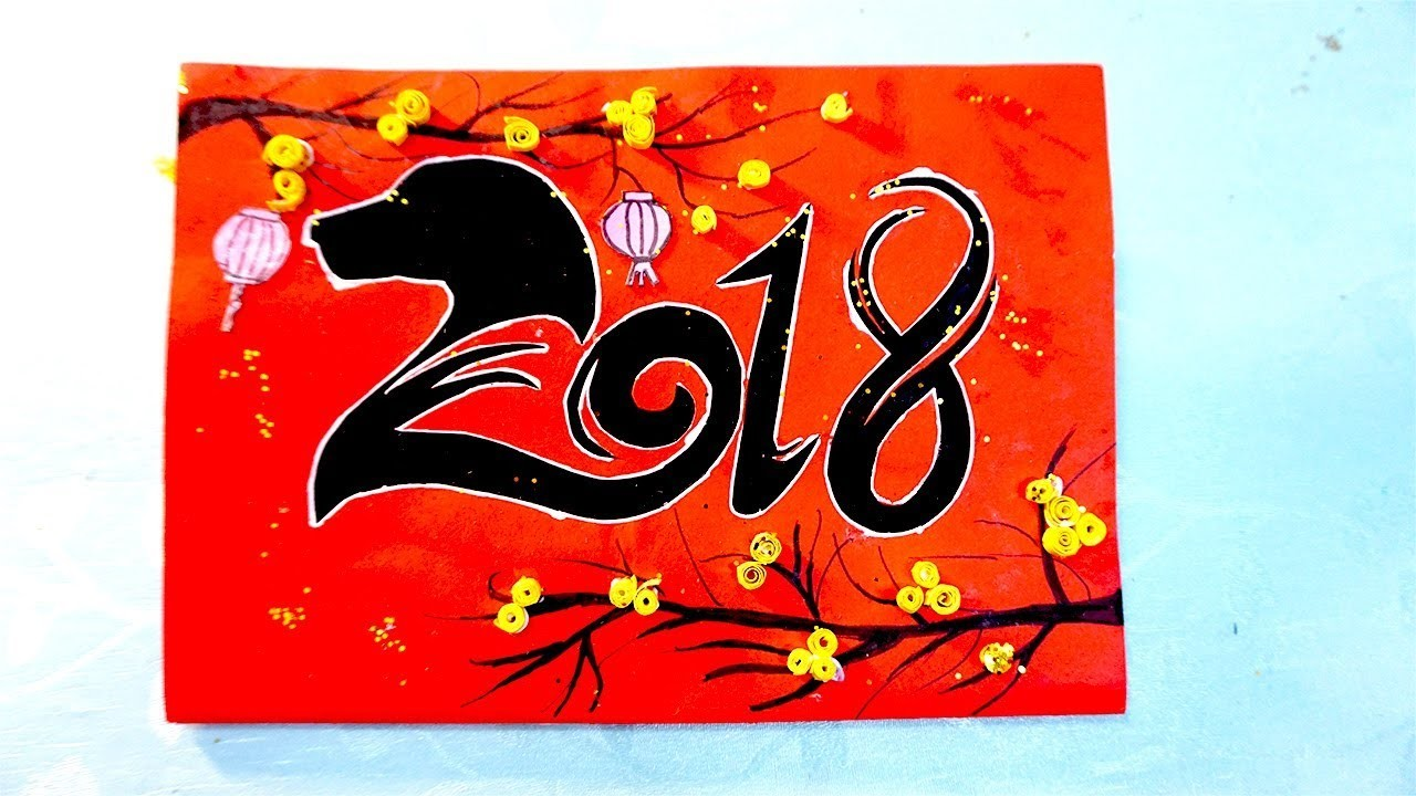 diy handmade happy new year card year of the dog 2018 thip chc mng xun mu tut 2018