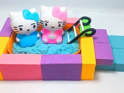 DIY Kinetic Sand How to Make Pool with Hello Kitty Learning Colors For Kids with YoKaCo