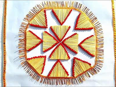 DIY matchstick wall hanging,creativity with waste matchstick,reuse waste matchstick,easy wall decor.