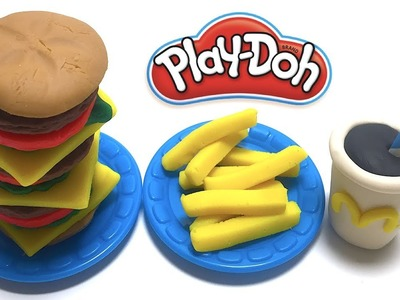 DIY Play-Doh Learn Make Big Hamburger Set French Fries Coke Toy Soda