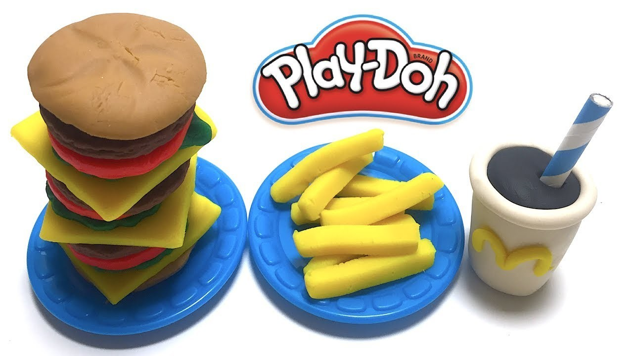 DIY Play-Doh Learn Make Big Hamburger Set French Fries Coke Toy Soda